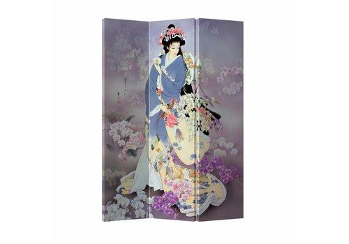 Fine Asianliving Kamerscherm Scheidingswand 3P Japanse Geisha Canvas Dubbelzijdig 120x180cm