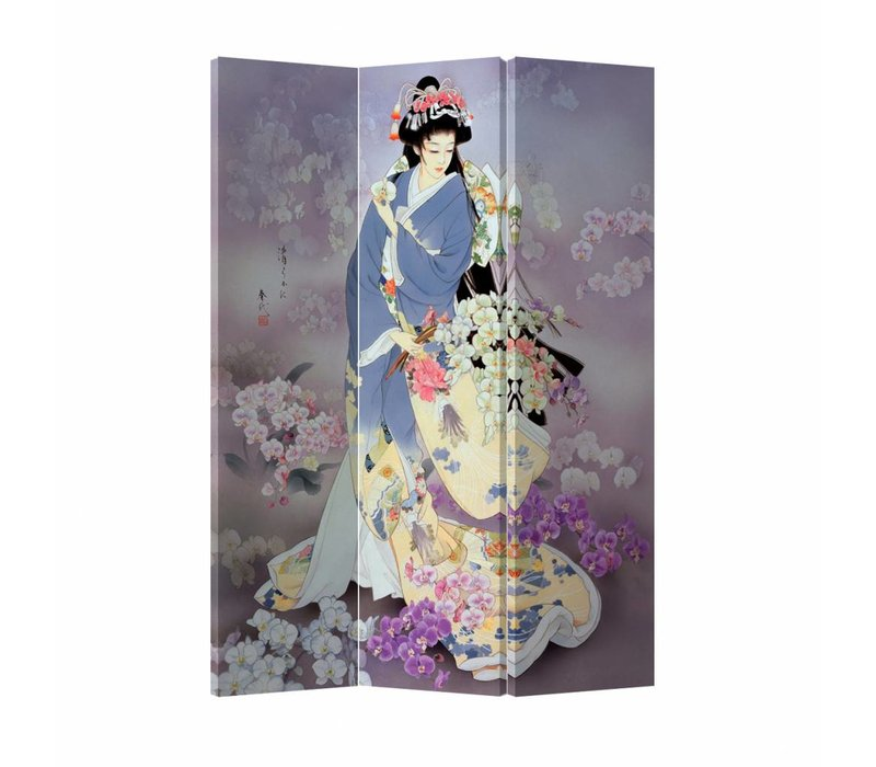 Fine Asianliving Room Divider Privacy Screen 3 Panel Japanese Geisha (120x180cm)