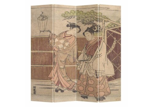 Fine Asianliving Fine Asianliving Japans Kamerscherm Oosters Scheidingswand 4 Panelen Japanse Vrouwen in Kimono L160xH180cm