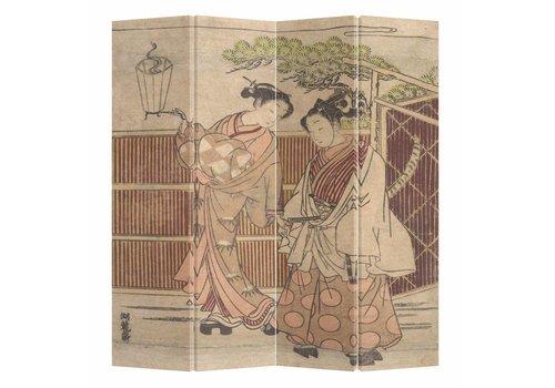 Fine Asianliving Paravento Divisori in Tela Giapponese L160xA180cm 4 Pannelli Donne Giapponesi in Kimono