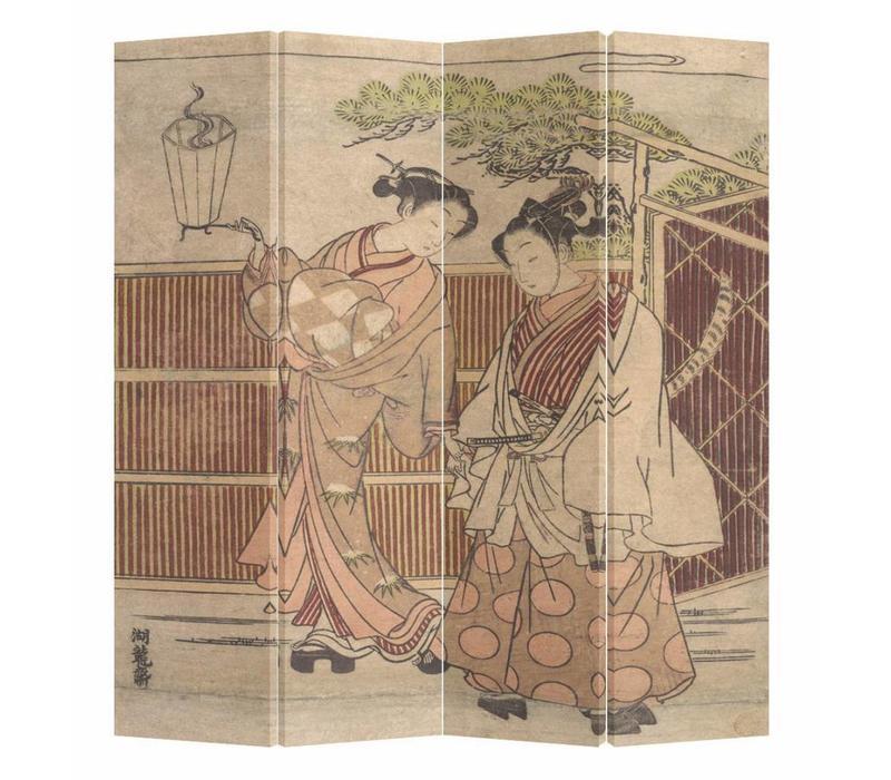 Chinees Kamerscherm 4 Panelen Japanse Vrouwen in Kimono Goryusai