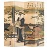 Fine Asianliving PREORDER 04/12/2020 Fine Asianliving Japans Kamerscherm Oosters Scheidingswand 4 Panelen Kimono Kalligrafie Kiyonaga L160xH180cm