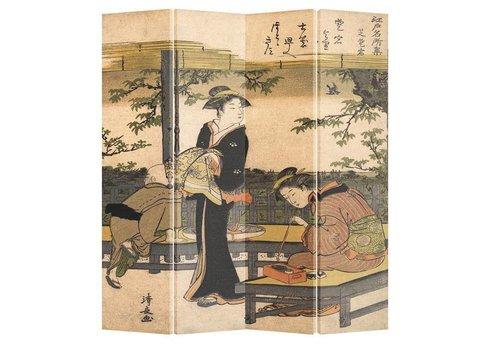 Fine Asianliving Fine Asianliving Kamerscherm Scheidingswand 4 Panelen Kimono Kalligrafie Kiyonaga L160xH180cm