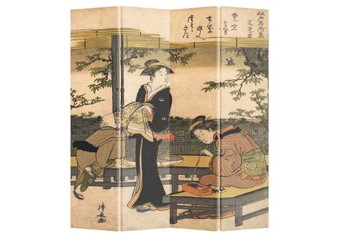 Fine Asianliving PREORDER 04/12/2020 Fine Asianliving Japanese Oriental Room Divider Folding Privacy Screen  4 Panel Kimono Calligraphy Kiyonaga L160xH180cm