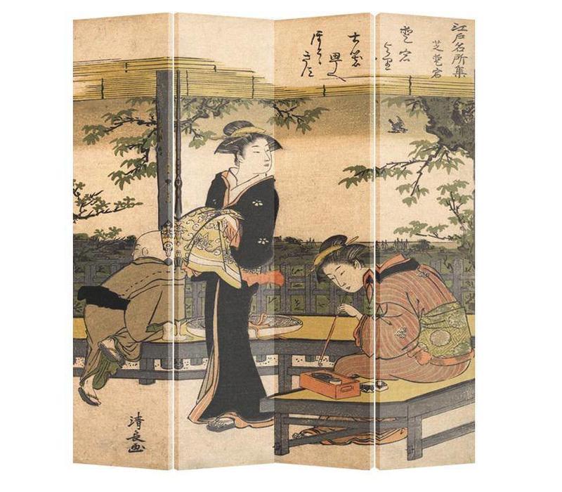 Fine Asianliving Kamerscherm Scheidingswand 4 Panelen Kimono Kalligrafie Kiyonaga