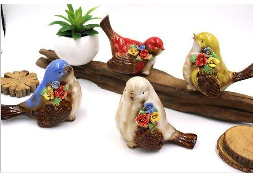 Fine Asianliving Bird White flowers Pottery red