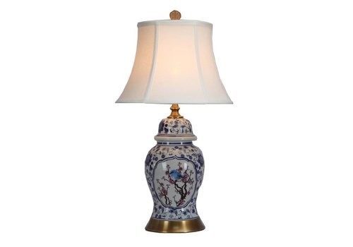 Fine Asianliving Fine Asianliving Table Lamp Porcelain with Lampshade Handpainted Blossoms