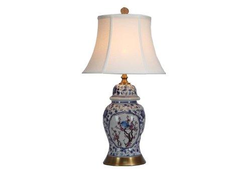 Fine Asianliving Lampada da Tavolo in Porcellana Cinese con Paralume Dipinto a Mano