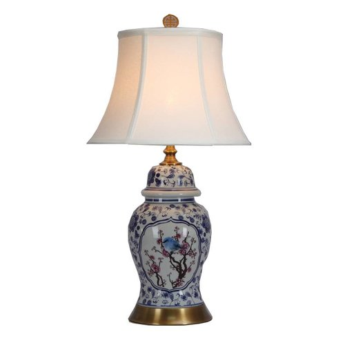 Fine Asianliving Chinese Table Lamp Porcelain with Lampshade Blossoms