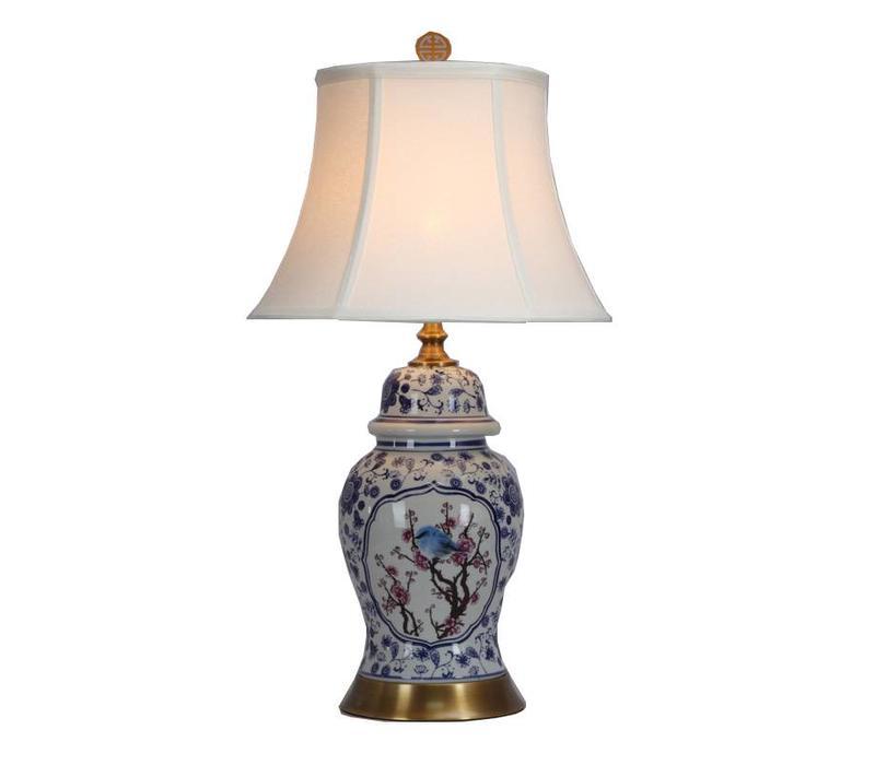 Fine Asianliving Lámpara de Mesa de Porcelana China con Pantalla D36xH62cm