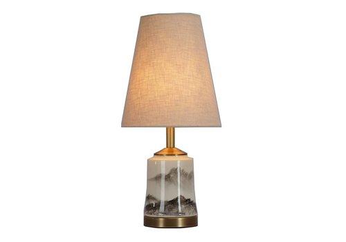 Fine Asianliving Fine Asianliving Lampe de Table en Porcelaine Chinoise avec Abat-jour Peintes à la Main D22xH47cm