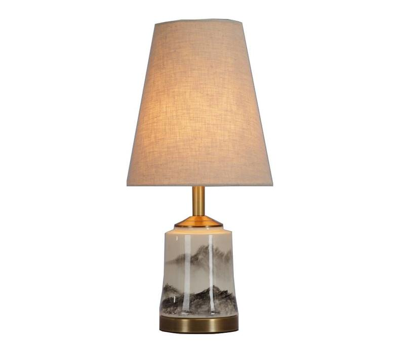 Chinese Table Lamp Porcelain with Lampshade Oriental Scenery