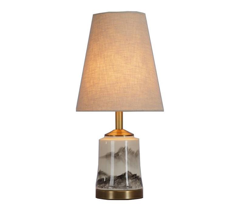 Fine Asianliving Lámpara de Mesa de Porcelana China con Pantalla D22xH47cm