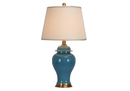 Fine Asianliving Fine Asianliving Chinese Table Lamp Porcelain with Lampshade Turquoise