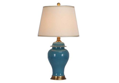 Fine Asianliving Lampe à Poser en Porcelaine Orientale Chinoise Turquoise