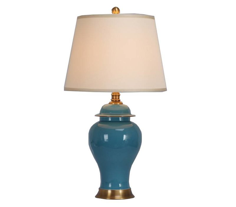 Chinese Table Lamp Porcelain with Lampshade Turquoise