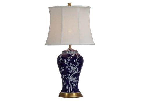 Fine Asianliving Lampada da Tavolo Cinese in Porcellana con Paralume Dipinta a Mano Fiore di Ciliegio