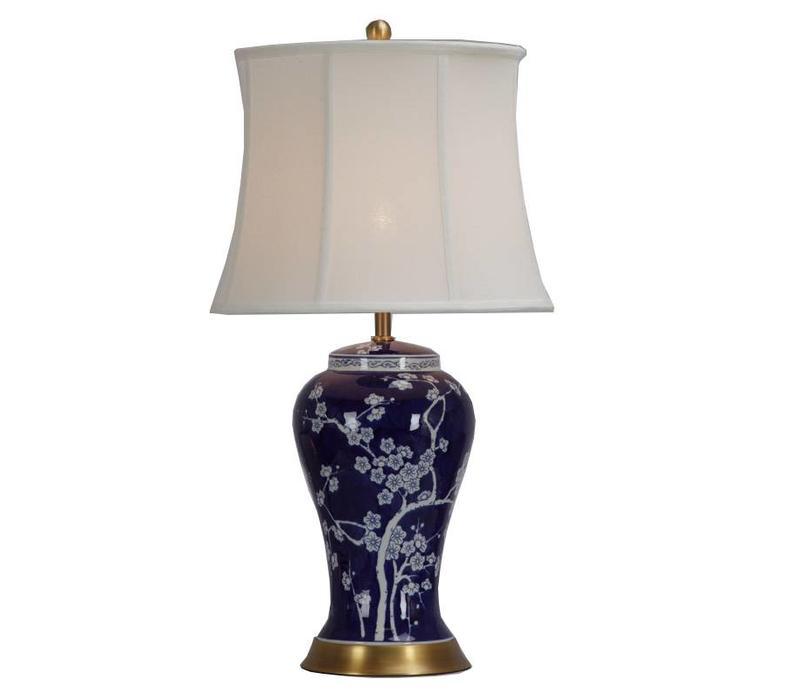 Lámpara de Mesa de Porcelana China con Pantalla Flor de Cerezo