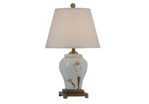Fine Asianliving Fine Asianliving Chinese Table Lamp Porcelain with Lampshade Blossoms
