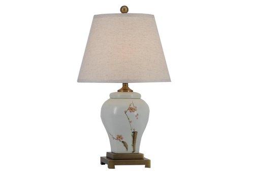 Fine Asianliving Fine Asianliving Lampe de Table en Porcelaine Chinoise avec Abat-jour Peintes à la Main D36xH62cm
