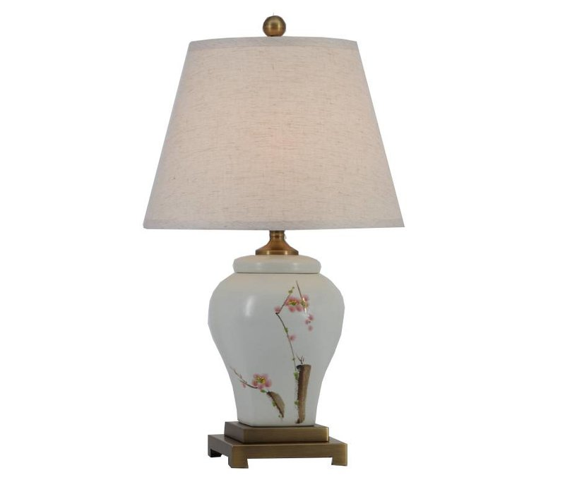 Fine Asianliving Lampe de Table en Porcelaine Chinoise avec Abat-jour Peintes à la Main D36xH62cm