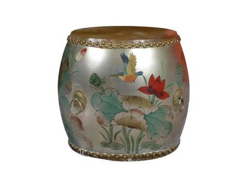 Fine Asianliving Chinese Trommel Bijzettafel Handbeschilderd Lotus Vogel Zilver