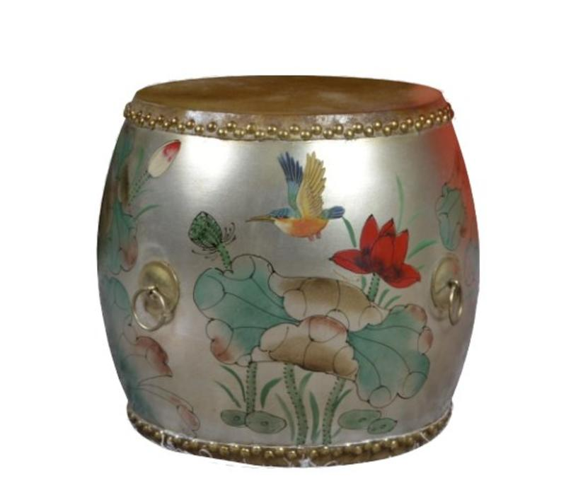 Chinese Drum Sidetable Handpainted Lotus Bird Silver