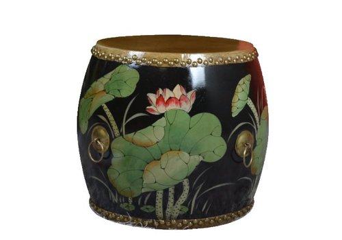 Fine Asianliving Chinese Trommel Bijzettafel Handbeschilderd Lotus Zwart
