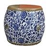 Fine Asianliving Chinese Trommel Bijzettafel Handbeschilderd Blauw Wit Pioenen