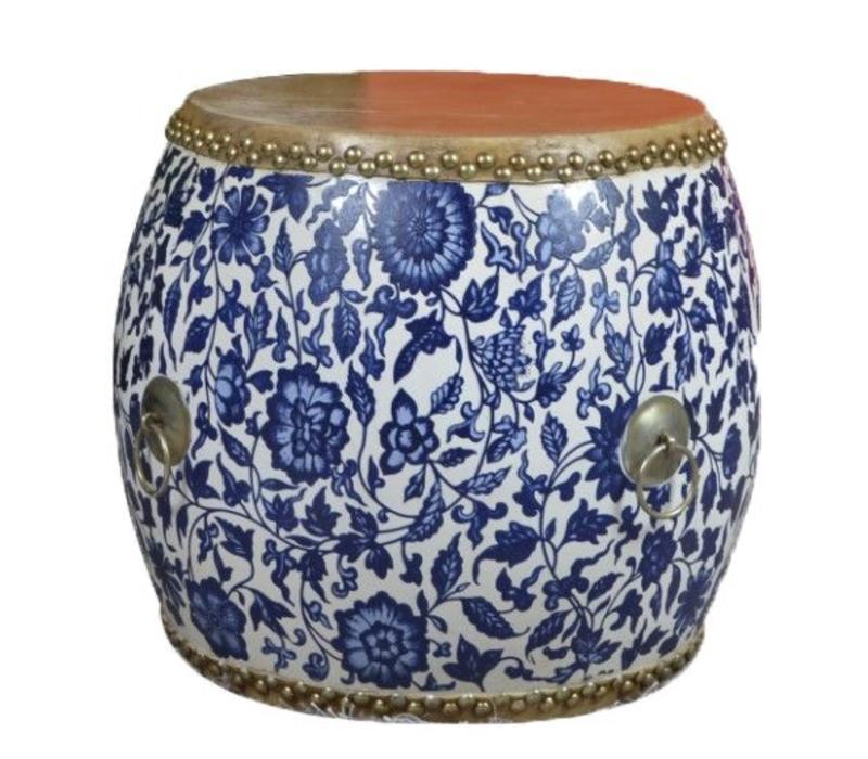 Chinese Trommel Bijzettafel Handbeschilderd Blauw Wit Pioenen