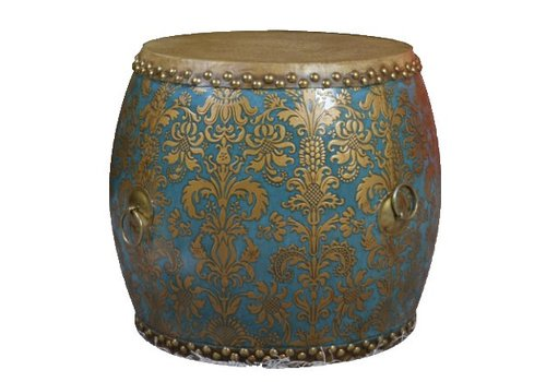 Fine Asianliving Chinese Drum Sidetable Handpainted Fleur de Lis Gold