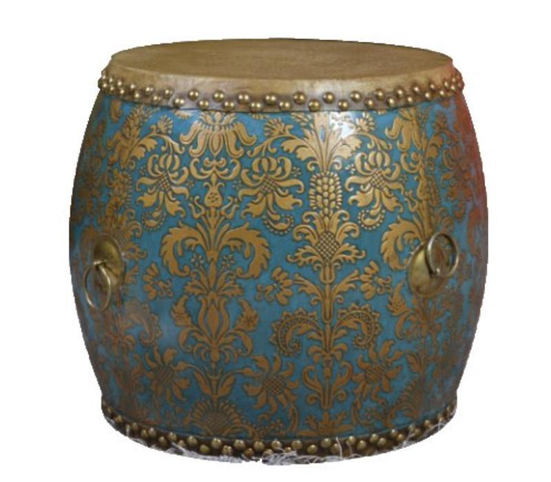 Chinese Drum Sidetable Handpainted Fleur de Lis Gold