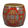 Fine Asianliving Chinese Drum Sidetable Handpainted Flowers Red