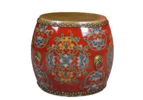 Fine Asianliving Chinese Trommel Bijzettafel Handbeschilderd Bloemen Rood