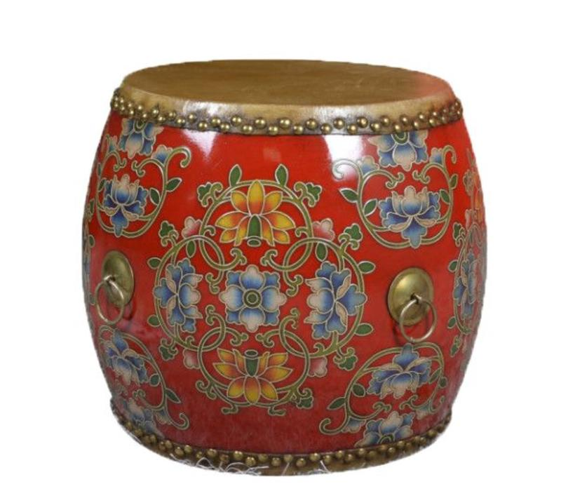 Chinese Drum Sidetable Handpainted Flowers Red