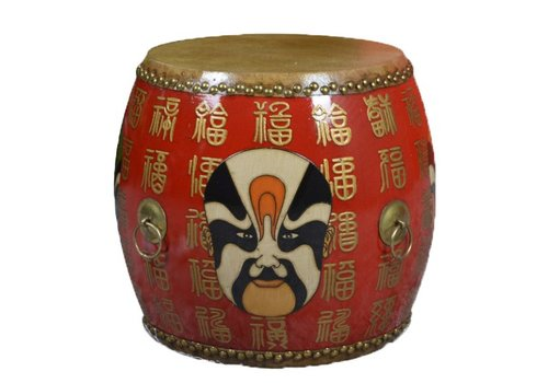 Fine Asianliving Chinese Drum Sidetable Handpainted Mask Red