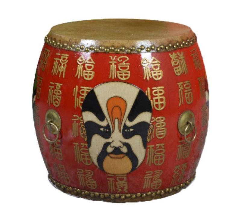 Chinese Trommel Bijzettafel Handbeschilderd Masker Rood