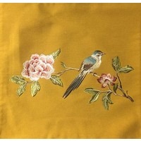 Fine Asianliving Cushion White handembroidered rose and bird yellow 45x45cm