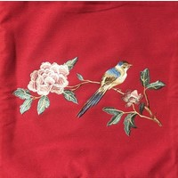 Chinese Cushion Hand-embroidered Peony Bird Red 50x50cm