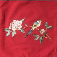 Coussin Chinois Rouge Pivoine Oiseau Brodé à la Main 50x50cm