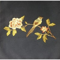 Kissen Handbestickte Rose und Vogel Marineblau 50x50cm