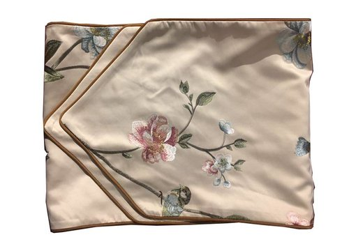Fine Asianliving Oriental Table Runner Silk Hand-embroidered Peony Beige 13.5x70inch