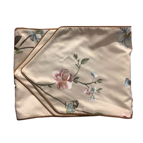 Fine Asianliving Oriental Table Runner Silk handembroidered Peony Beige 34x180cm
