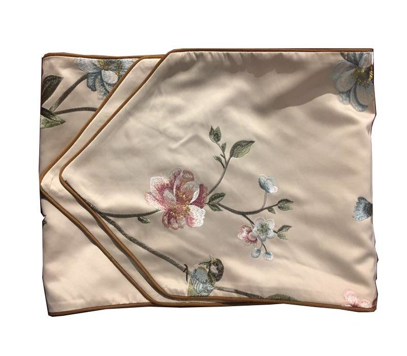 Oriental Table Runner Silk Hand-embroidered Peony Beige 13.5x70inch