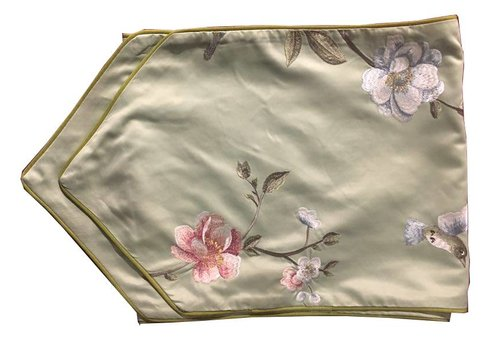 Fine Asianliving Oriental Table Runner Silk Hand-embroidered Peony Green 34x180cm