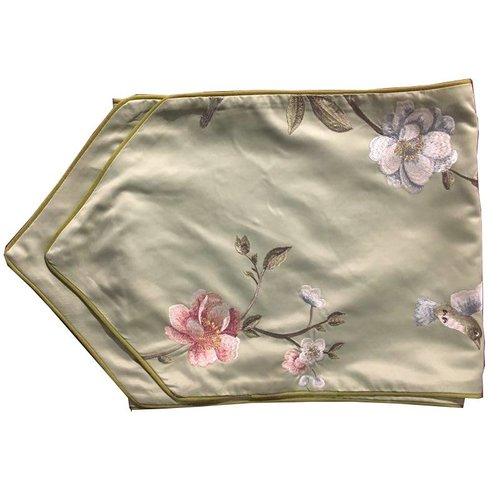 Silk table runner White handembroidered Rose Green