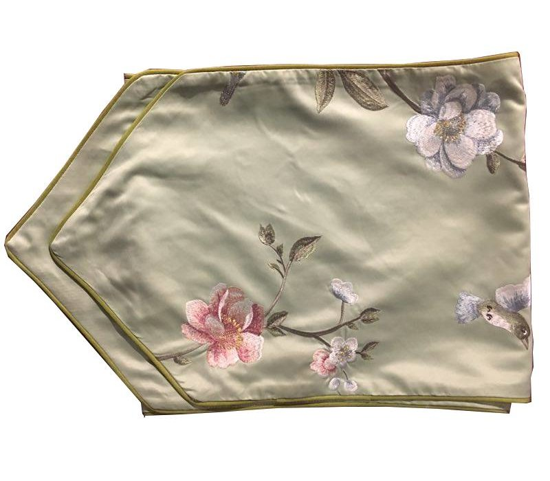 Oriental Table Runner Silk Hand-embroidered Peony Green 34x180cm