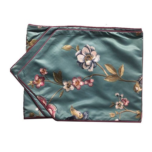 Fine Asianliving Oriental Table Runner Silk handembroidered Peony Blue 34x180cm