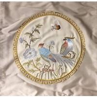 Zijden Kussen Met Handgeborduurde Vogels Geel