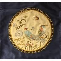 Fine Asianliving Sierkussen Zijde Handgeborduurde Vogels Navy 50 x 50 cm